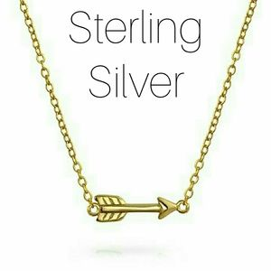Dainty Gold Sterling Silver Arrow Necklace